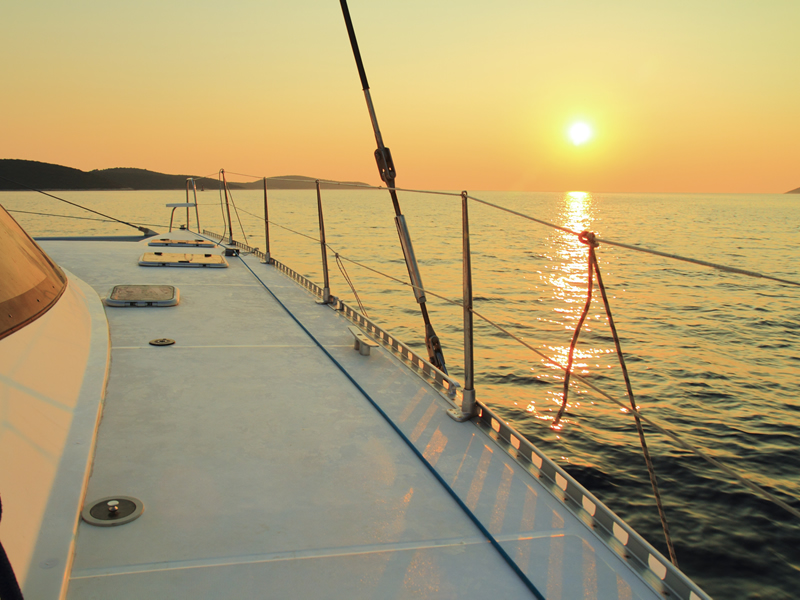 Sunset from our catamaran